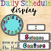Daily Schedule Display with Clocks