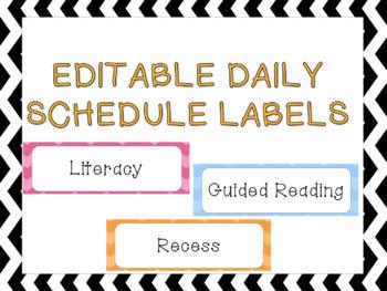 Daily Schedule Editable Chevron Template