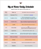 At Home Daily Schedule (For Distance Learning)