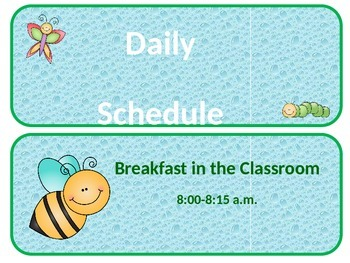 Daily Schedule (Insect Theme) Editable