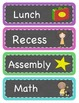 Daily Schedule Label Cards - Chalkboard Brights