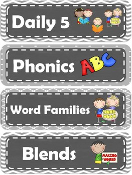 Daily Schedule Label Cards - Grey Chalkboard