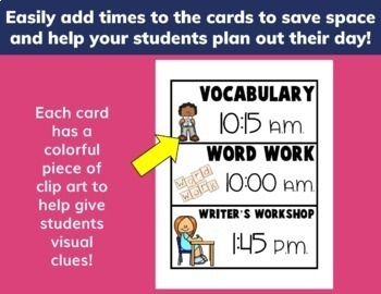 Classroom Schedule Cards EDITABLE
