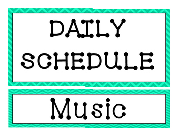Daily Schedule Large/Teal/Chevron