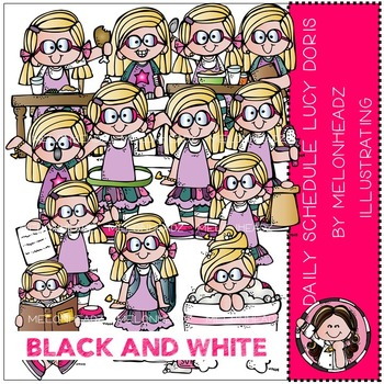 Daily Schedule clip art - Lucy Doris - BLACK AND WHITE- by Melonheadz