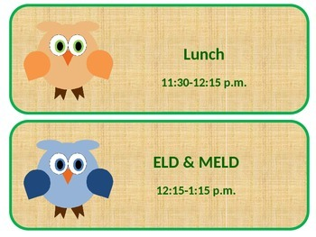 Daily Schedule Owl Theme Editable