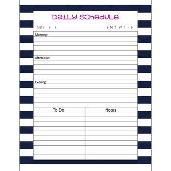 Teacher Binder Daily Schedule Planner Pages