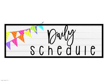 Daily Schedule Posters: Farmhouse Flair Neon 2 {Editable}