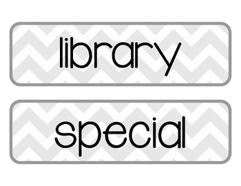 Printable Daily Schedule Labels {Gray Chevron}