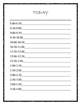 Daily Schedule Sheets and Communication Log for Educators
