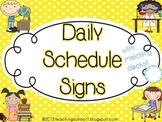 Daily Schedule Signs - black & yellow