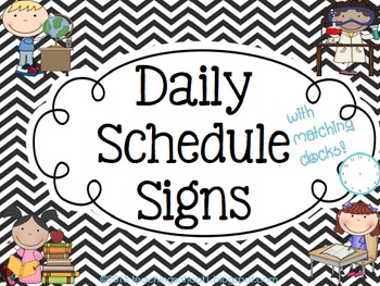 Daily Schedule Signs - Black & White Chevron