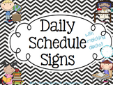 Daily Schedule Signs - Black & White Chevron