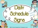 Daily Schedule Signs - aqua dots