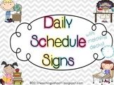 Daily Schedule Signs - gray chevron