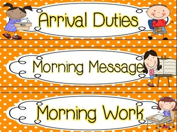Daily Schedule Signs - rainbow dots