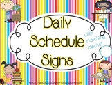 Daily Schedule Signs - rainbow stripe