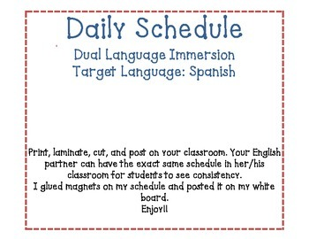 Daily Schedule Spanish and English DLI
