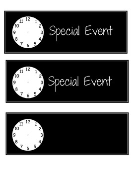 Daily Schedule Subject Cards with Clock