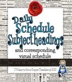 Daily Schedule Subject/Activities Headers + Visual Schedule