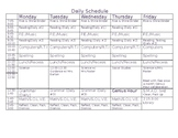 Daily Schedule Table