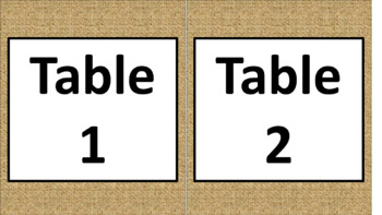 Daily Schedule & Table Numbers - Burlap