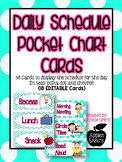 Daily Schedule Teal Pocket Cart Cards {18 Editable Cards NOW Included}
