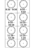 Daily Schedule Time Cards EDITABLE Analogue Clock