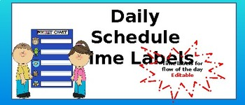 Daily Schedule Time Labels for Flow of the Day (Editable)