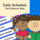 Daily Schedule   Visual Schedule   Thin Blue Chevron Pattern