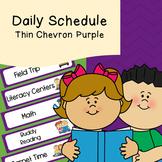 Daily Schedule   Visual Schedule   Thin Purple Chevron Pattern