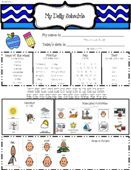 Daily Schedule and Calendar Worksheet for Students with Autism/Lifeskills