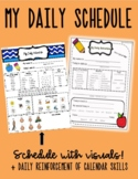 Daily Schedule Worksheet with visuals -use in an autism or special ed classroom