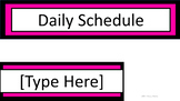 Daily Schedule & Table Numbers - Black & Pink