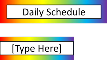 Daily Schedule and Group Labels - Noah's Rainbow - V2