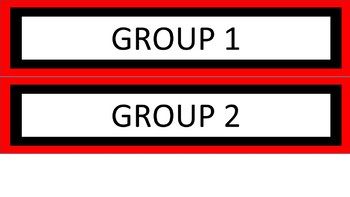 Daily Schedule and Group Labels - Red & White