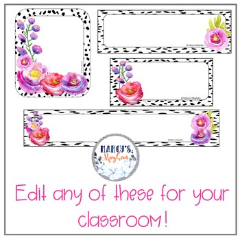 Daily Schedule and Table Numbers EDITABLE black, pink & purple