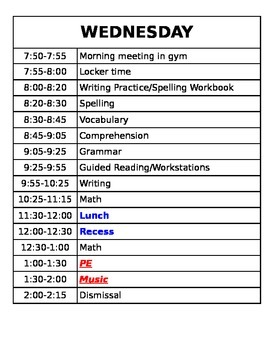 Daily Schedule for Entire Week