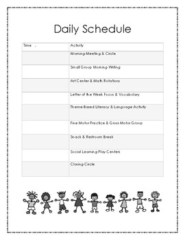 Daily Schedule for a 3 Hour/Half Day Program
