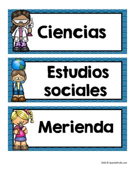Daily Schedule in Spanish (Horario de clases en espanol)