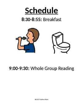 Daily Schedule with Pictures (Special Education)