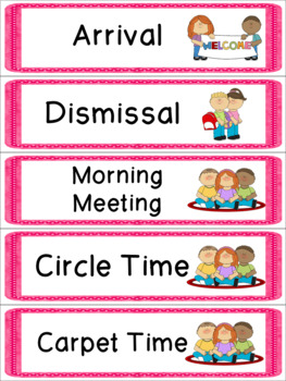 Pink Daily Schedule with Visual Pictures