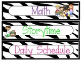 Daily Schedule - zebra themed