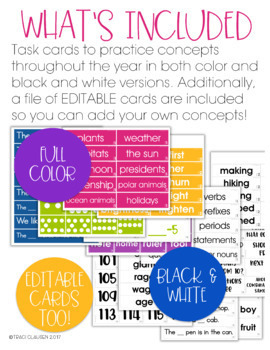 Daily Schema Review - Concept Review Task Cards - EDITABLE