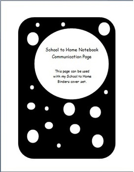 Daily School to Home Parent Communication Page for Special