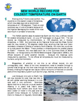 Daily Science 27 : Coldest Temperature on Earth (article / questions / key)