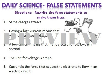 Daily Science- Electricity- Electricity False Statements
