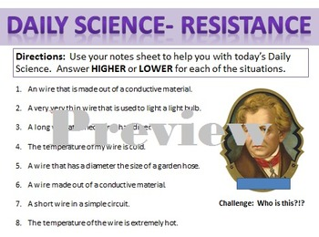 Daily Science- Electricity- Resistance