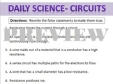 Daily Science- Electricity- Resistance False Statements