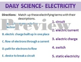 Daily Science- Electricity- Vocabulary Words